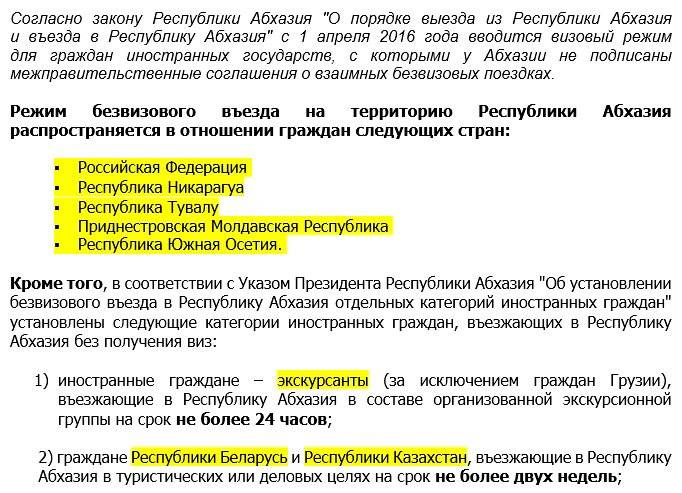 Абхазия виза для белорусов
