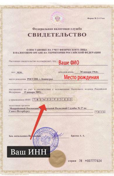 Где находится инн в паспорте