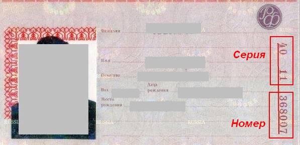 Серия и номер паспорта рф пример