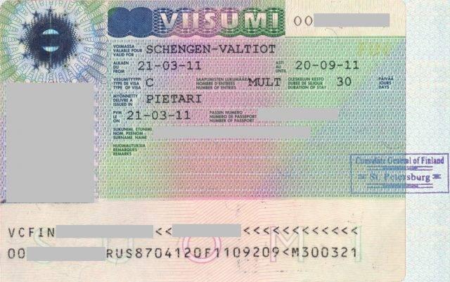 Откатать визу в финляндию