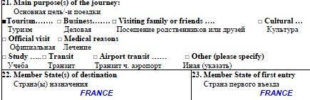 Анкета французская виза