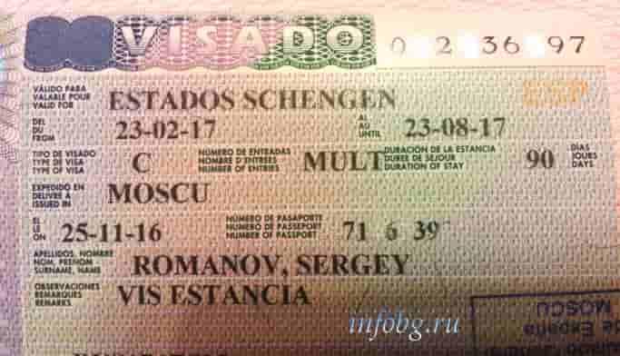 Бланк анкеты на визу в испанию